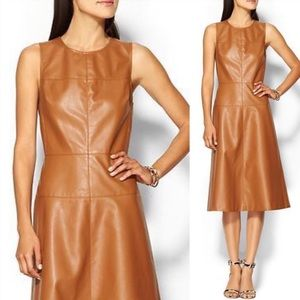 Piperlime Vegan Leather Fit & Flare Dress